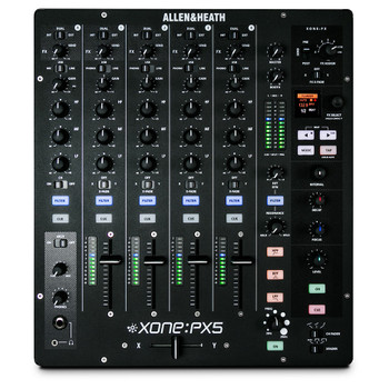 AH-XONE:PX5 Top down 4 channel mixer with volume and EQ controls, FX and Mic input