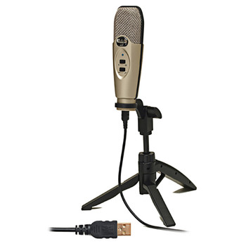 CAD AUDIO U37 USB Large Diaphragm Condenser Microphone shown on included tripod stand