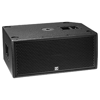 """PSA1S 2800 watts peak – powered – compact stackable active subwoofer -- 2 x 12"""" front loaded woofers, with casters laid down"""