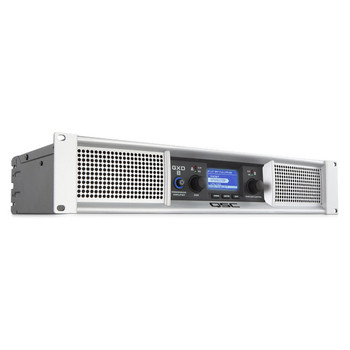 QSC GXD8 Lightweight class D power amp with DSP 2 ch800 watts/ch front view. EMI Audio