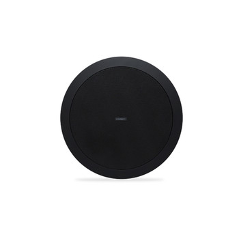 QSC AD C6T LP 6.5 inch black Two way ceiling speaker front view. EMI Audio