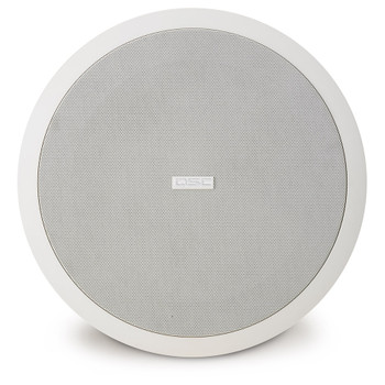QSC AD C81Tw 8 inch white subwoofer ceiling speaker front view. EMI Audio