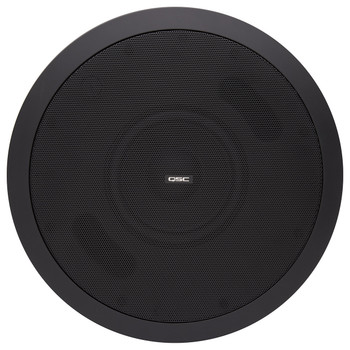 QSC AD C.SUB BK 6.5 inch Dual voice coil black ceiling subwoofer High pass out powers four satellite speakers. EMI Audio