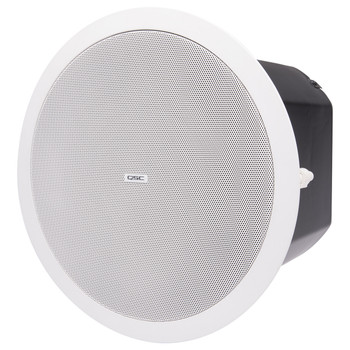 QSC AD C.SUB WH 6.5 inch Dual voice coil white ceiling subwoofer High pass out powers four satellite speakers left view. EMI Audio