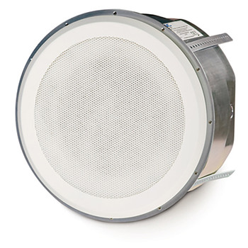 QSC AD C820R SYSTEM 8 inch round High power coaxial ceiling speaker angled view. EMI Audio