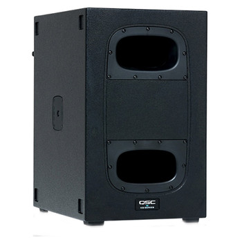 QSC KS112 12 inch 2000W compact subwoofer left angled view. EMI Audio