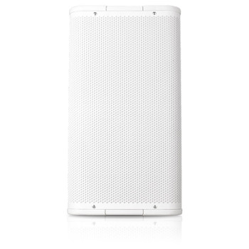 QSC AP 5102 WH 10 white two way speaker front view. EMI Audio