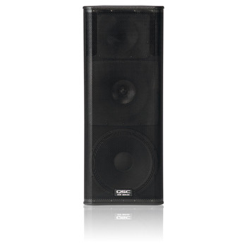 QSC KW153 15 inch three way 1000W active loudspeaker with 6.5 inch horn loaded midrange front view. EMI Audio