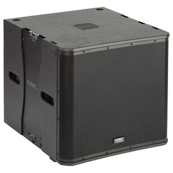 QSC KLA181 BK 18 inch 1000W subwoofer with integrated flying hardware angled view. EMI Audio