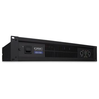 QSC CX1102 2 channels, 700 watts/ch at 8ohms, 1100 watts/ch at 4ohms, 1700 watts/ch at 2ohms.   Front Angle