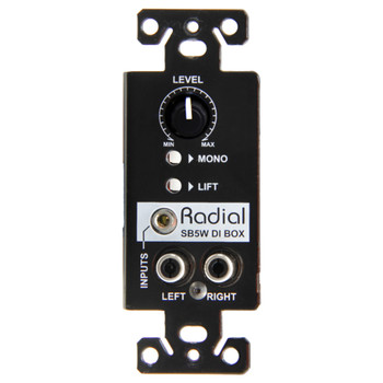 RADIAL SB-5W Wall-mount stereo DI, passive, fits in single gang receptacle front view EMI Audio