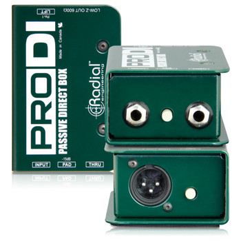 RADIAL ProDI passive DI for high output acoustic, guitar bass & keyboards front and back view EMI Audio