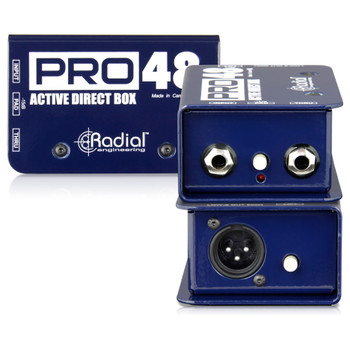 RADIAL Pro48 active DI for acoustic guitar & bass, 48V phantom powered front and back view EMI Audio