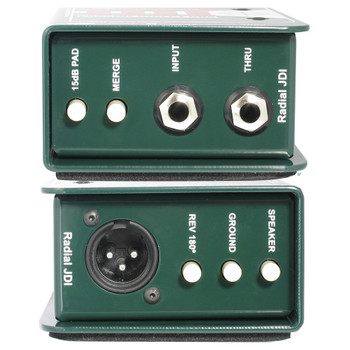 RADIAL JDI passive DI for acoustic guitar, bass and keyboards - Industry standard front and back view EMI Audio