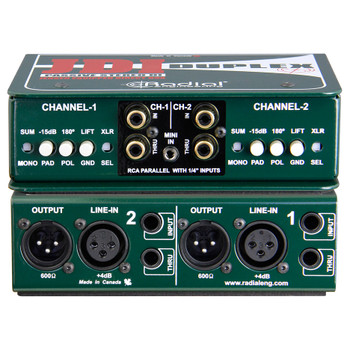 """RADIAL Duplex passive DI, 2-chan for keyboards with 1/4"""", RCA, 3.5mm & XLR inputs front and back view EMI Audio"""