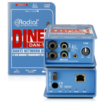 RADIAL DiNet Dan-TX Dante network transmitter, stereo DI inputs and digital out front and back view EMI Audio