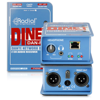 RADIAL DiNet Dan-RX Dante network receiver, digital inputs and stereo analog outputs front and back view EMI Audio