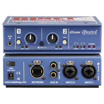 RADIAL DiNet DAN-TX2 Dante network transmitter, stereo line level XLR/TRS inputs with level controls front and back view EMI Audio