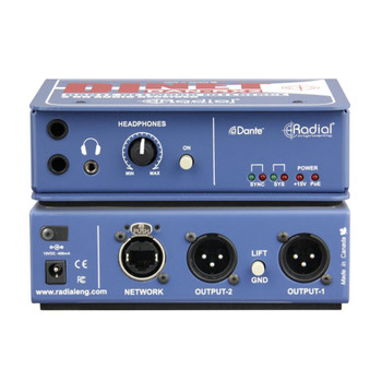 RADIAL DiNet DAN-RX2 Dante network receiver, Ethercon input with stereo XLR analog outputs front and back view EMI Audio