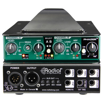 RADIAL JDV MKV class-A DI, 2-inputs, mic input w/phantom, load correction & Phazer front and back view EMI Audio
