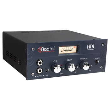 RADIAL HDI Studio-Grade Direct box with Transformer saturation, line output front view EMI Audio