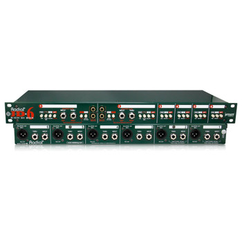 """RADIAL JD6 6-ch passive DI for keyboards, 1RU 19"""" rackmount, 1/4"""" & RCA inputs front and back view EMI Audio"""