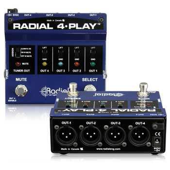 RADIAL 4-Play DI box for multi-instrumentalists with 4 balanced outputs top and back view EMI Audio