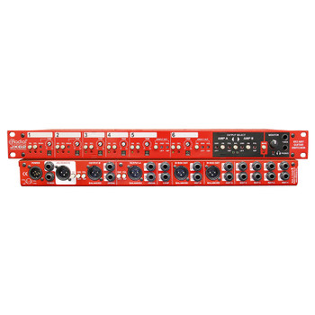RADIAL JX62 guitar selector, 6 inputs, AB amp outputs and 2 built-in DI boxes front and back views EMI Audio