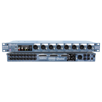 """RADIAL SW8 8-ch backing track switcher with D-Subs & 1/4"""" inputs & isolated DI outs front and back view EMI Audio"""