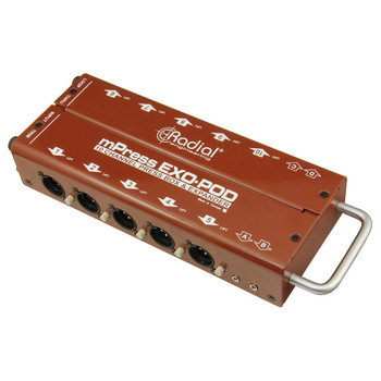 RADIAL Exo-Pod Press-box expander floorbox with 10 XLR and 4 3.5mm outputs angled view