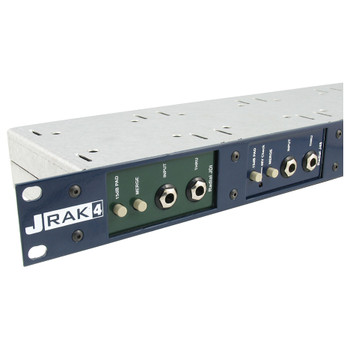 "JRAK 4 Rack adaptor houses up to 4 Radial DI boxes in a single 19"" space front view"
