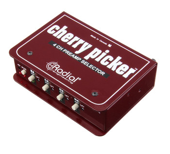 Cherry Picker Passive 1x4 selector, use to compare 4 preamps in the studio, XLR I/o angled view