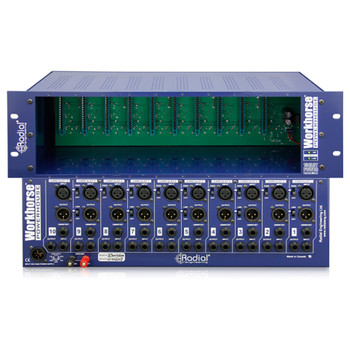 """Powerhouse 10 slot power-rack, 19"""" 3RU, 1600 mA power supply front and back view"""