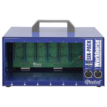 SixPack 6 slot power-rack, desktop format, 1600mA power supply from view EMI Audio