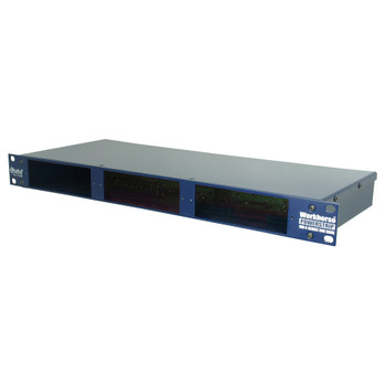 "PowerStrip 3 slot power-rack, 19"" 1RU, 500 mA power supply front view"