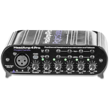 ART HEADAMP4PRO Five Channel Headphone Amplifier with Talkback front
