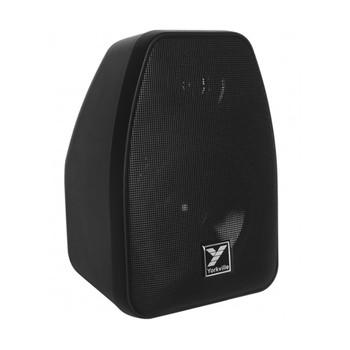 Yorkville C110B Coliseum Mini Series black 2 way weather resistant 40 watt 70 volt speaker angled view