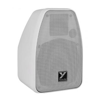 Yorkville C110W Coliseum Mini Series white 2 way weather resistant 40 watt 70 volt speaker angled view