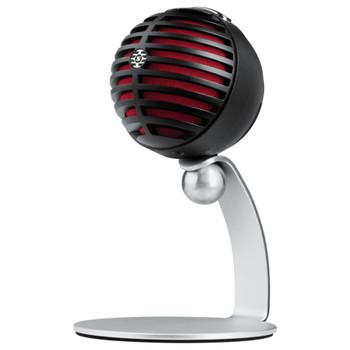 SHURE MV5/A-B-LTG MV5 Digital Condenser Microphone (Black) + USB & Lightning Cable shown on included desktop stand