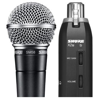 SHURE SM58-X2U Cardioid Dynamic Microphone with X2U XLR-to-USB Signal Adapter. EMI Audio
