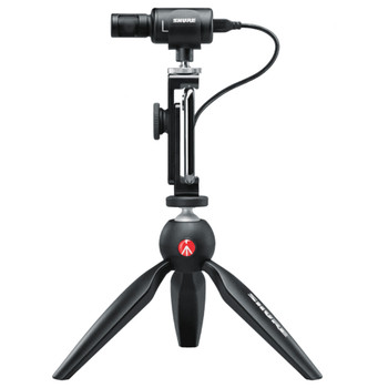 SHURE MV88+ VIDEO KIT Digital Stereo Condenser Microphone side view on tripod with phone attached