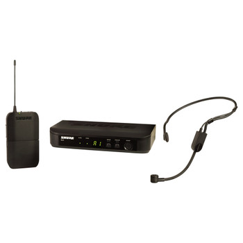 SHURE BLX1 bodypack transmitter, BLX4 single-channel receiver and PGA 31 headset mic. EMI Audio