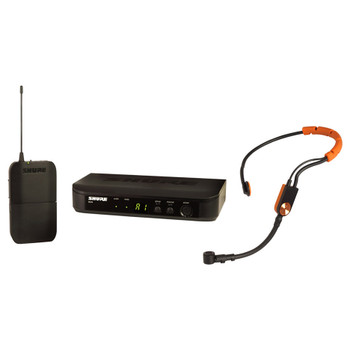 SHURE BLX4 wireless receiver, BLX1 bodypack transmitter and SM31 fitness headset microphone. EMI Audio