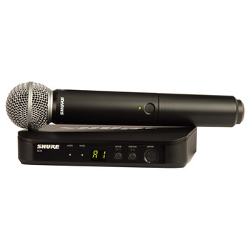 SHURE BLX4 Wireless Receiver and (1) Handheld Transmitter with SM58 Microphone. EMI Audio
