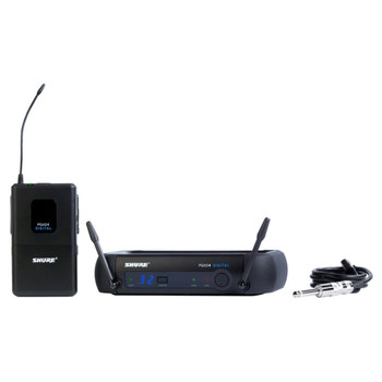 SHURE PGXD14-X8, PGXD4 receiver, PGXD1 bodypack transmitter, guitar cable, power supply. EMI Audio