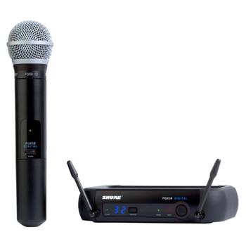 SHURE PGXD24/PG58-X8, PGXD4 receiver, PGXD2/PG58 handheld transmitter, clip, power supply. EMI Audio