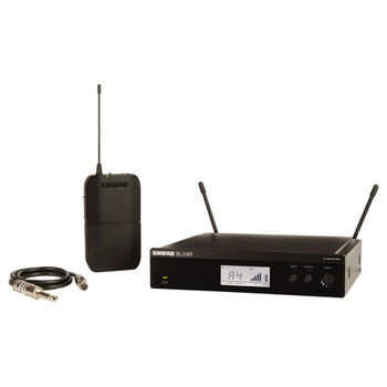 SHURE BLX1 bodypack transmitter, BLX4R rack mount receiver and guitar cable. EMI Audio