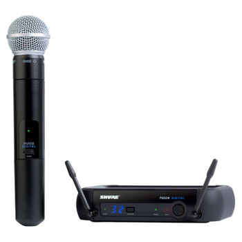 SHURE PGXD24/SM58-X8, PGXD4 receiver, PGXD2/SM58 handheld transmitter, clip, power supply. EMI Audio