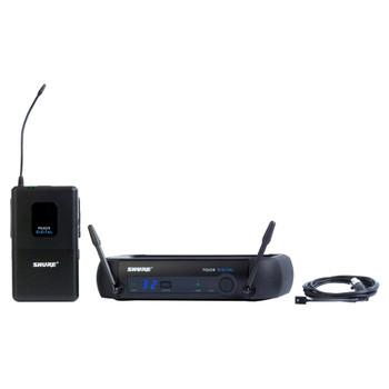 SHURE PGXD14/93-X8, PGXD4 receiver, PGXD1 bodypack transmitter, WL93 lavalier microphone. EMI Audio