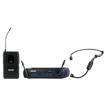 SHURE PGXD14/PGA31-X8, PGXD4 receiver, PGXD1 bodypack transmitter, PGA31 headset microphone. EMI Audio